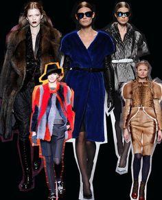 For fur's sake  It doesn't matter what colour, shape, size or style - if Milan fashion dictates your style, you'd better have some fur.  Left to right: Gucci, Giorgio Armani, Alberta Ferretti, Alberta Ferretti, Fendi