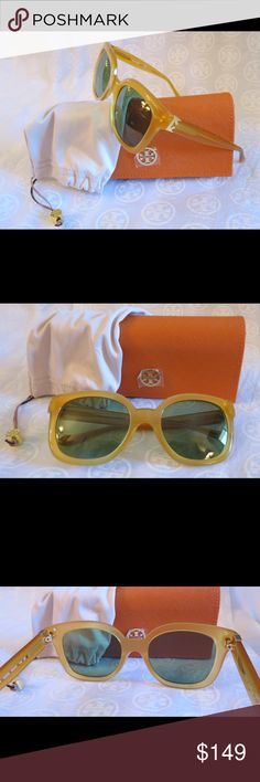 NWT Tory Burch Modern T Cat -Eye Sunnies TY7104 NWT Tory Burch Sunnies Ty7104 Color 1622/2  Time for some new fabulous authentic designer shades!!  Frame Color: 16222 Marigold Yellow Lens Color: Green Solid  These are PERFECT Flawless NEVER even worn or tried on. It's just reflections that might make they look like there are issues, they are again Perfect!  Comes with original bag with tags from Luxottica, case and dust bag.  All of my items are Guaranteed 100% Genuine I do not sell FAKES of…