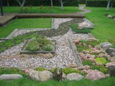 Meandering path could also be a terrace boundary - Small Front Yard Garden Rock Garden Design, Path Design, Design Ideas, Rock Design, Design Design, House Design, Interior Design, Beautiful Home Gardens, Unique Gardens