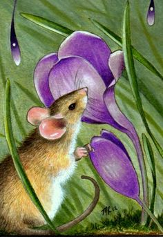 Mouse and Flowers Art by Melody Lea Lamb ACEO by MelodyLeaLamb, $6.25