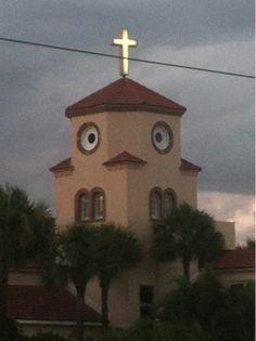 Church? Bird? Eyed mustache?