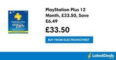 PlayStation Plus 12 Month, £33.50, Save £6.49, £33.50 at Electronicfirst