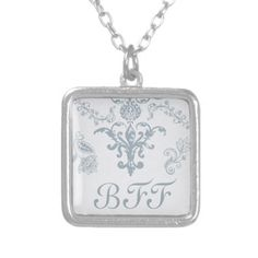 vintage blue toile bff best friends forever necklace