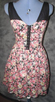 Atmosphere,ladies,size 14,black,pink,floral,v neck,sleeveless,Formal,Tea Dress.