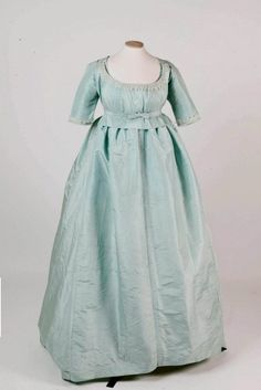 This dress dates from the mid 1790s and is more on the blue side.