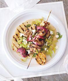 Lemony Chicken Souvlaki With Celery and Feta Recipe