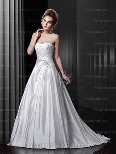 A-line Strapless Organza Satin Sweep Train Ivory Beading Wedding Dresses at Millybridal.com
