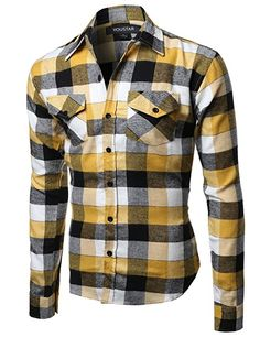 Youstar Men s Long Sleeve Button Down Chest Pocket Checkered Plaid Flannel  Shirt 79dc7403053