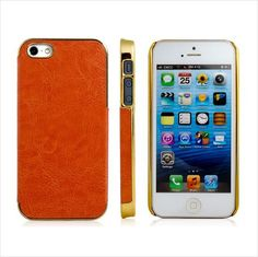 iPhone 5 Earth Tone Brown Protective Plastic Skin Case with Gold Frame Trim