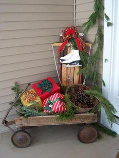 On the patio/in the yard Western Christmas, Christmas Porch, Farmhouse Christmas Decor, Outdoor Christmas Decorations, Country Christmas, Christmas Holidays, Christmas Greenery, Winter Decorations, Christmas Wonderland