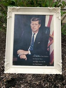 1960 S Vintage Jfk White Frame Pictureask Not What Your Country