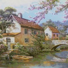 Sung Kim ~c.c~Riverside Cottage~ Country Village Petit pont maison Scenery Paintings, Landscape Paintings, Pictures To Paint, Art Pictures, Watercolor Landscape, Watercolor Paintings, Riverside Cottage, Image Nature, Beautiful Paintings