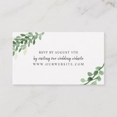 Lush Greenery Wedding RSVP Online Card Botanical Invitations Party Watercolor Floral