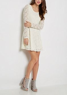 Ivory Lace Long Sleeve Skater Dress | rue21