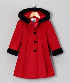 Love this Red & Black Wool-Blend Swing Coat - Toddler & Girls on #zulily! #zulilyfinds