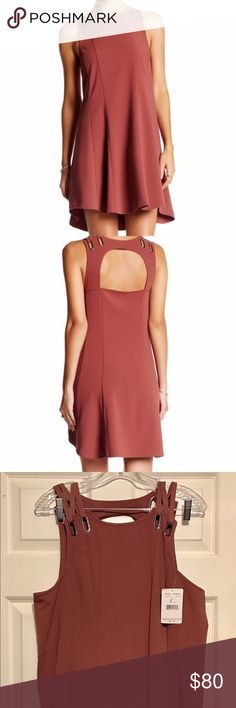 """FREE PEOPLE Red Trapeze Skater Dress L Large NWT Free People Babylove Trapeze Dress.   MSRP $98 Bust 18.5""""  Length 35""""  Grommet-and-shoelace shoulders with a cutout back deconstruct a seamed trapeze dress Free People Dresses Mini"""