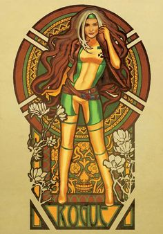 Rogue Nouveau by Megan Lara   Awesome, so so awesome. Two of my favorite people Rogue and Mucha