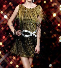 Vintage Rhinestoned Fringe Round Collar Women's Flapper DressFlapper Dresses | RoseGal.com