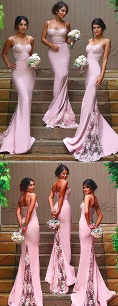 prom dress,bridesmaid dress,Gorgeous Spaghetti Straps bridesmaid dress,Mermaid Backless prom dresses,Long prom Dress,dress for the bridesmaid