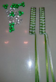 One Pair of white and lime green ribbon barrettes for Non Hodgkins Lymphoma Awareness!!!