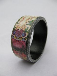 Folk Style Jewellery, Decoupaged with Floral Design - White, Black and Purple Wooden Bracelet - Shabby Chic Bangle - Eco-Friendly Fashion