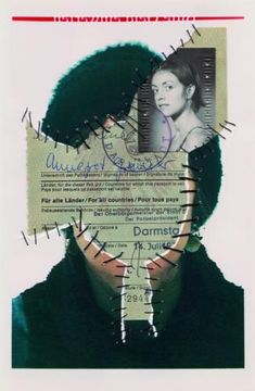 Personal Identity Self-portraits with sewn-in original documents, birth certificate, SIM cards. Personal Identity, Identity Art, Visual Identity, Collages, Collage Art, Photography Projects, Art Photography, Photomontage, A Level Art