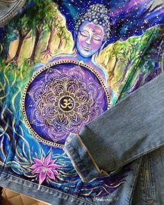 Painted Denim Jacket, Painted Jeans, Painted Clothes, Hand Painted, Namaste, Custom Denim Jackets, Buddha, Diy Clothing, Fabric Painting
