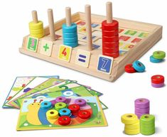 Wooden Puzzles Counting Toys: Not only does this ring stacking and counting toy provide a visual for children learning how to add or subtract, but it also incorporates other math skills such as matching, comparing, and problem-solving. Montessori Preschool, Preschool Learning, Toddler Preschool, Toddler Toys, Simple Math, Basic Math, Wooden Pattern, Puzzles For Toddlers, Shape Matching