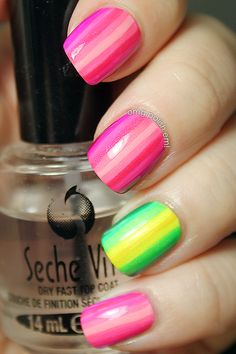 Tone on tone pink stripes with green & yellow stripes accent nail art design