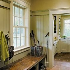 Love the bench and coat hooks, it's what I imagined when we were designing the sunroom, but too much going on focus on it, and frankly we had too much furniture to cram into the corners