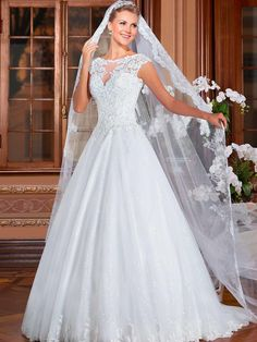 High Quality Beaded Lace White Tulle Short Cap Sleeve Wedding Dress Backless Floor Length Court Train