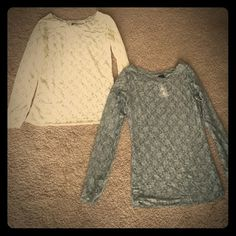 Bundle of lacy tops 2 lacy tops 1 cream colored, 1 light gray. Both brand new with tags. Rue 21 Tops Blouses