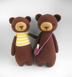 Tall Bear With Bag Amigurumi Pattern by Little Bear Crochet