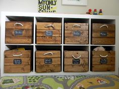 toy storage Stained ac Moore crates with rope handles. For ikea shelves in boys playroom. Wooden Crates Toy Storage, Wood Crates, Crate Storage, Baby Storage, Wooden Boxes, Wood Storage, Diy Toy Storage, Kids Storage Bins, Playroom Storage