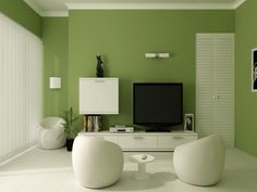 Green Paint Colors For Living Room Home Design Ideas Inside Living Room Paint Colors Room Behr Paint Colors Living Room Green, Colorful Interiors, Living Room Paint, Room Interior Design, Paint Colors For Living Room, Living Room Interior, Green Painted Walls, Green Accent Walls, Living Room Designs