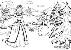 Iarna - EduTeca - Plansa de colorat pentru copii - Zana Iarna si omul de zapada Coloring Books, Coloring Pages, Printables, Templates, Winter, Google Search, Vintage Coloring Books, Quote Coloring Pages, Winter Time
