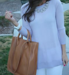 Lilac and White, Tunic, Tan Tote, White Jeans, Michael Kors White Ceramic Watch, Madewell, J.Crew