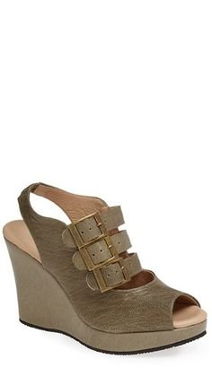 $334, Olive Leather Wedge Sandals: Cordani Whittier Wedge Sandal. Sold by Nordstrom. Click for more info: https://lookastic.com/women/shop_items/216608/redirect