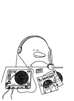 Pena The Unholy - LPs (c) Teemu Seuranen / www.facebook.com/PenaTheUnholy #pena #the #unholy #penatheunholy #penguin #comics #headphones #lps #record #player #vinyls #vinyl #coffee #happy #cute #cassette