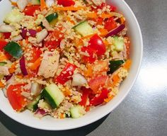 Tuna, Veggie & Quinoa (instead of couscous) Salad - fresh, tasty, and inexpensive! Use 12 ounces tuna to serve 2 on Phase 1 (use 2 cups cooked quinoa instead of couscous) or Phase 3 (use 1 cup cooked quinoa).