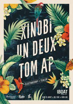 Artwork for Xinobi, Un Deux & Tom AP @ Iboat Belle affiche fleurie, vintage & classy