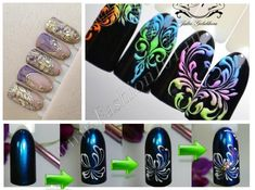Рисовать вензеля на ногтях можно с помощью разных техник и материалов