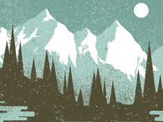 mountains illustration -- pointillism and texture, mixing simplified realistic with geometric, colors