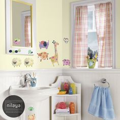 Bring the zoo to your loo! Fun animal wallstickers for the kids shower room!