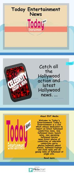 Welcome to Today's Entertainment! Today's Entertainment is a site which always dedicated to report on latest hollywood celebrities news, new hollywood music launch news, new upcoming hollywood movies news,latest photos of celebrities or adorable celebrities party photos,hollwood award events, hollwood fashion and style news and all gossip news of hollywood at single site.