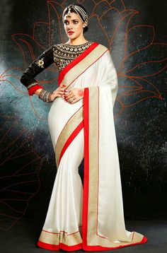 Luscious Ivory Saree - Order online @ http://www.yourdesignerwear.com/luscious-ivory-saree-p-52298.html