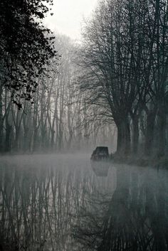 Early Morning Mist. Atmospheric misty morning at French canal. By Madeleine Photography.
