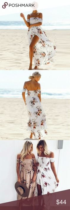 !!!JUST IN!!! Isla Maxi Dress in Ivory Just arrived!!!   Made with beautiful floral chiffon fabric with a stretchy top half for a flawless, comfortable fit and lined on the bottom half. This dress is perfect for wearing to the beach on warm summer days.   If you would like a size that is not currently listed, please make a request in the comments. Boutique  Dresses Maxi