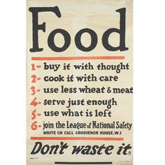 In response to the sinking of huge numbers of merchant ships bound for Britain during the First World War, the British government initially introduced a voluntary rationing scheme, issuing posters such as this one, that encouraged self-restraint in food consumption.     Produced during the First World War  © IWM (Art.IWM PST 13375)