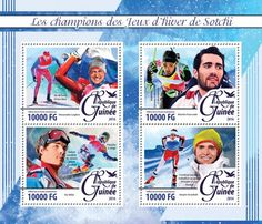 GU16223a The champions of the Sochi Winter Games (Alexander Legkov winner of 50 km freestyle; Martin Fourcade - Biathlon Individual event and prosecution; Vic Wild winner of Parallel Slalom and Parallel Giant Slalom with snowboard; Jorgen Graabak - Individual Nordic combined and the team)
